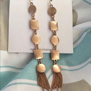 Geometric design rose gold earrings